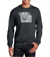 la pop art big & tall men's word art pug face crewneck sweatshirt