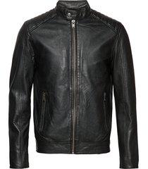 slh r-03 racer leather jkt w noos leren jack leren jas zwart selected homme