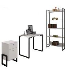conjunto escritã³rio 3 peã§as mesa 90cm estante 5 prateleiras e gaveteiro 2 gavetas new port f02 branco - mpozenato - unico - dafiti