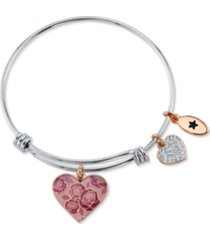 "unwritten ""mom you are nothing short of amazing"" pink enamel heart crystal bangle bracelet in stainless steel silver plated charms"