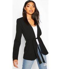 tall belted blazer, black