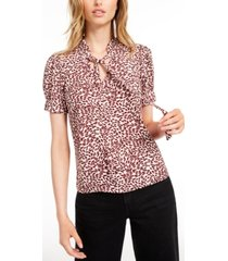 maison jules tie-neck printed top, created for macy's