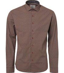 shirt, l/sl, allover printed, stret orange