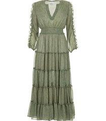 maxi jurk met ruches hadeya  groen