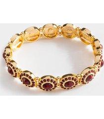 tanya round stone stretch bracelet - burgundy