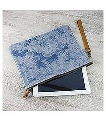 leather accent tie-dyed cotton clutch, 'blooming blue' (thailand)