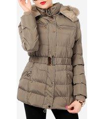 cappotto trapuntato con cappuccio in pelliccia sintetica