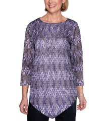alfred dunner petite wisteria lane zigzag textured top