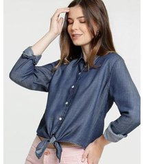 camisa jeans marisa amarração manga longa feminina