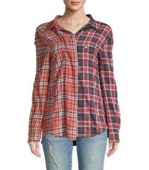 r13 women's off-shoulder two-tone plaid shirt - maroon rust multi - size xs