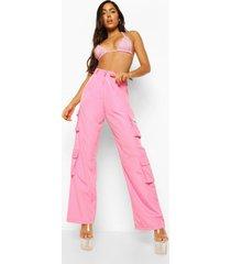 utility broek met zakken en logo, pink