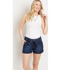 maurices womens denimflex™ high rise dark wash belted 3.5in shorts blue