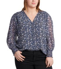 1.state trendy plus size sheer long-sleeve printed top