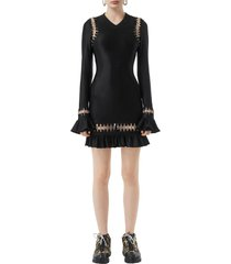 women's burberry ring embellished ruffle long sleeve minidress
