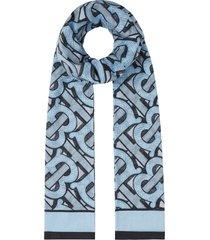 burberry monogram-print lightweight scarf - blue