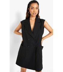 oversized mouwloze blazer jurk, black