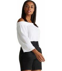 blusa de crepé sin hombros blanco esprit