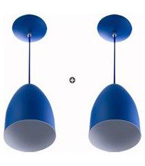 kit 2 lustre pendente cone de alumínio 20x14cm azul