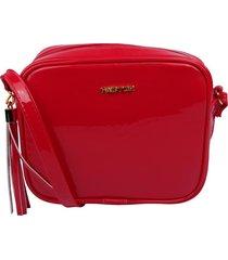 bolsa transversal factor fashion - lisa verniz vermelha