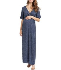 women's nom maternity landon maxi wrap maternity/nursing dress, size x-large - blue