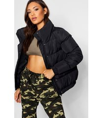 crop funnel neck padded jacket, black