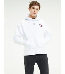 tommy hilfiger men's organic cotton badge hoodie classic white - xxl