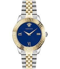 greca signature lady goldtone stainless steel bracelet watch