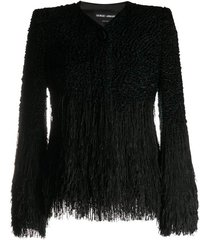bouclé-effect knitted jacket