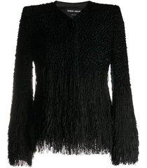 bouclé-effect knitted jacket