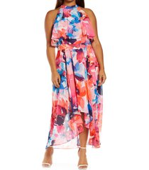 eliza j floral popover bodice high-low chiffon dress, size 18w in pink multi at nordstrom