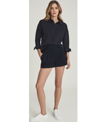 reiss april - pleat front tailored shorts in navy, womens, size 12