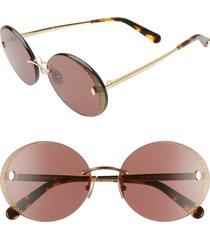 women's roberto cavalli 62mm rimless round sunglasses - brown/ shiny endura gold
