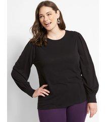 lane bryant women's blouson-sleeve tee 18/20 black