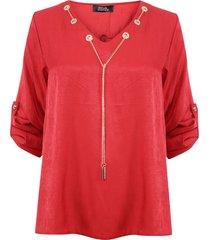 blusa nrg con accesorio rojo - calce holgado