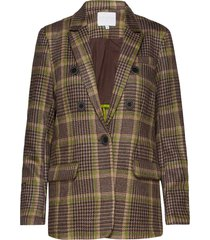 suit jacket in checked scuba blazer kavaj brun coster copenhagen