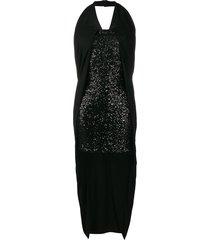 balmain high low sequinned dress - black
