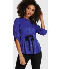 yoins blusa azul de cintura con cordón y botones delanteros