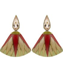 marquetry red leaf diamond and morganite earrings