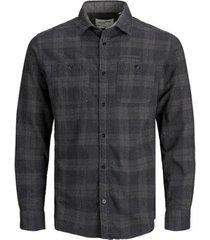 overhemd lange mouw jack & jones 12180869 jcoutility shirt ls worker dark grey melange/slim