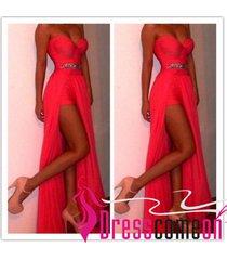 sexy slit prom dresses with beaded waist long chiffon maxi plus size women dress