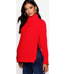 maternity roll neck sweater with side split, red