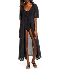 women's elan crochet panel swim cover-up, size x-large - black