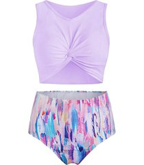 feather print twist front padded tankini swimsuit