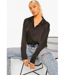 oversized satijnen blouse met mouwdetail, black