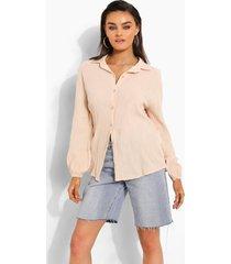 blouse met textuur en open rug, sand