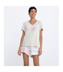 pijama blusa manga curta e short em viscolycra estampado | lov | rosa | p