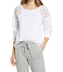 women's caslon lace inset top, size small - white