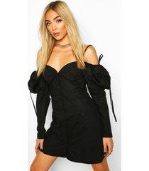 cotton cold shoulder puff sleeve mini dress, black