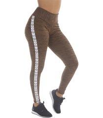 calça legging risca click lateral bege