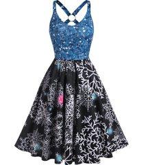 christmas snowflake print o-ring a line dress
